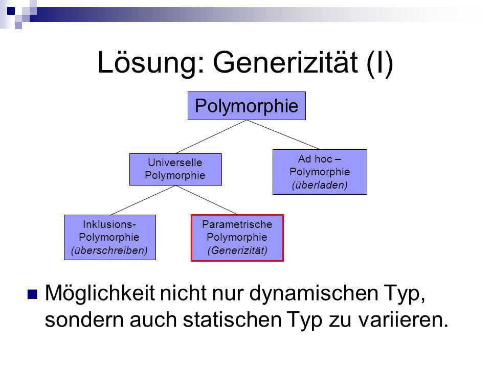 Lösung: Generizität (I) Möglichkeit nicht nur dynamischen Typ, sondern auch statischen Typ zu variieren. Universelle Polymorphie Polymorphie Inklusion
