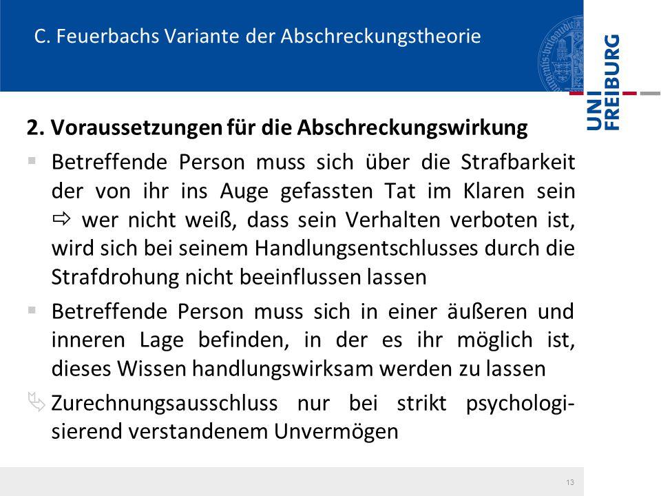 C. Feuerbachs Variante der Abschreckungstheorie 2. Voraussetzungen für die Abschreckungswirkung  Betreffende Person muss sich über die Strafbarkeit d