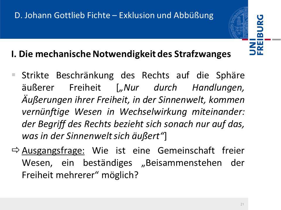 D. Johann Gottlieb Fichte – Exklusion und Abbüßung I. Die mechanische Notwendigkeit des Strafzwanges  Strikte Beschränkung des Rechts auf die Sphäre
