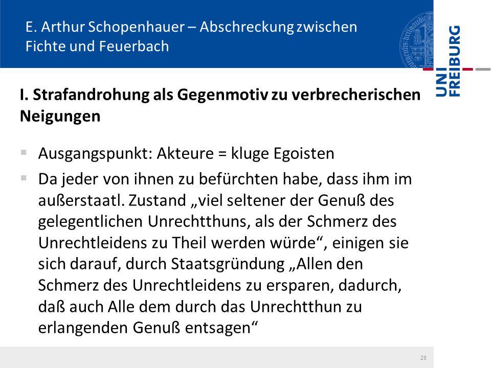 E. Arthur Schopenhauer – Abschreckung zwischen Fichte und Feuerbach I. Strafandrohung als Gegenmotiv zu verbrecherischen Neigungen  Ausgangspunkt: Ak