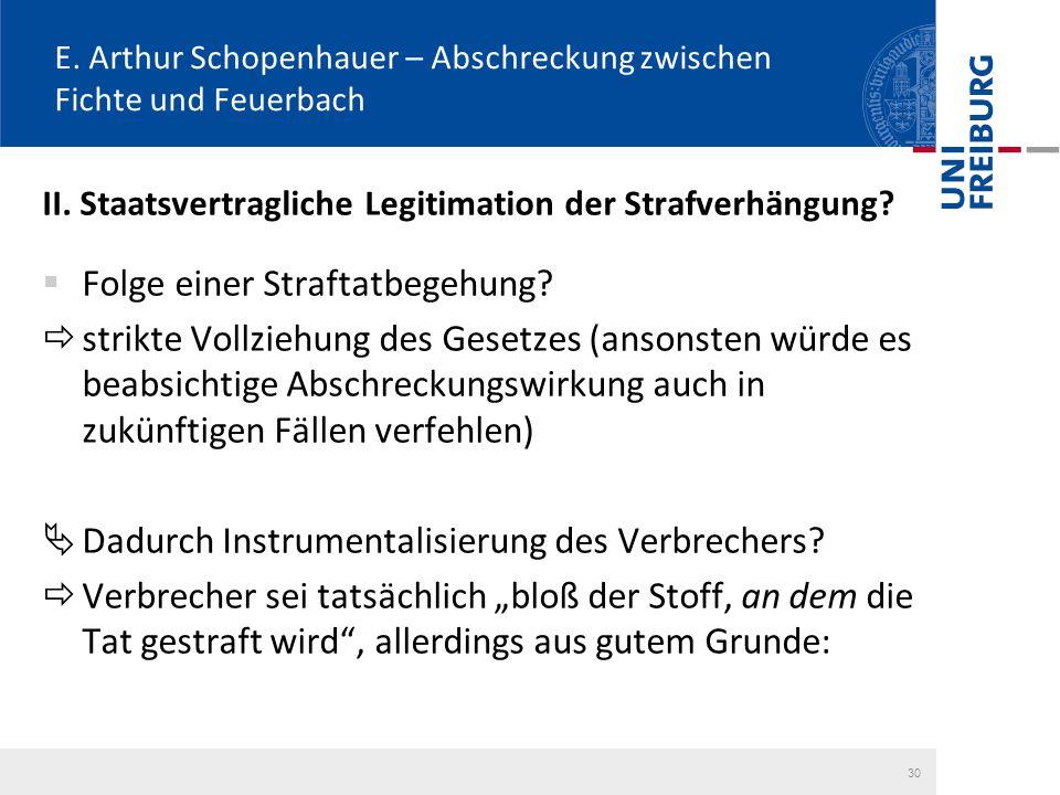 E. Arthur Schopenhauer – Abschreckung zwischen Fichte und Feuerbach II. Staatsvertragliche Legitimation der Strafverhängung?  Folge einer Straftatbeg