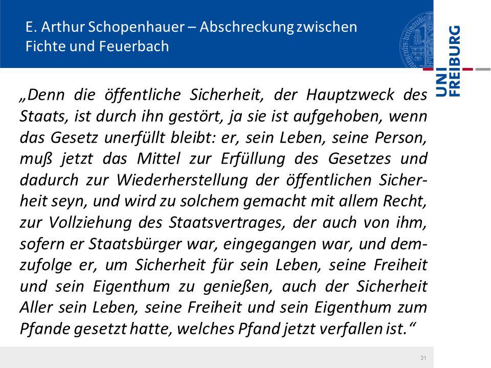 """E. Arthur Schopenhauer – Abschreckung zwischen Fichte und Feuerbach """"Denn die öffentliche Sicherheit, der Hauptzweck des Staats, ist durch ihn gestört"""