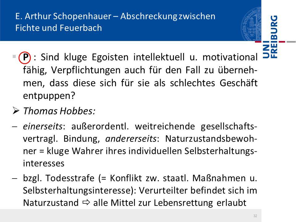 E. Arthur Schopenhauer – Abschreckung zwischen Fichte und Feuerbach  P : Sind kluge Egoisten intellektuell u. motivational fähig, Verpflichtungen auc