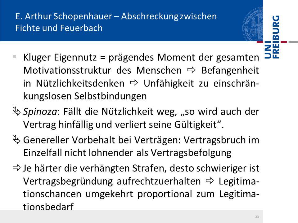 E. Arthur Schopenhauer – Abschreckung zwischen Fichte und Feuerbach  Kluger Eigennutz = prägendes Moment der gesamten Motivationsstruktur des Mensche