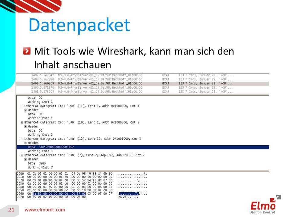 21 Datenpacket Mit Tools wie Wireshark, kann man sich den Inhalt anschauen