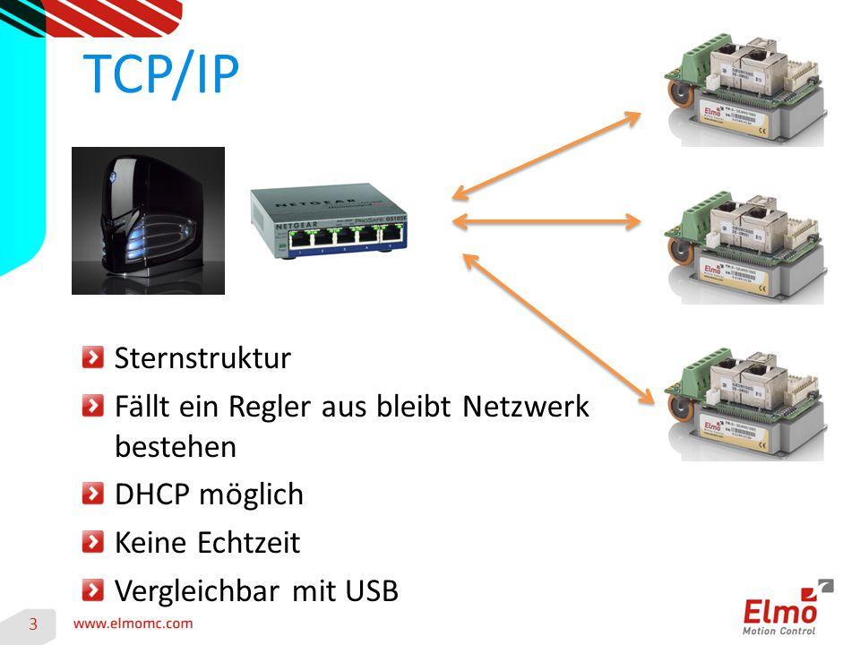 4 TCP/IP Integration Vorbereiten des Regler für Ethernet Kabel in die EtherCAT IN Buchse Stecken EAS aufmachen und in einen Terminal AA[n] Befehle eingeben EAS beenden und Regler neustarten