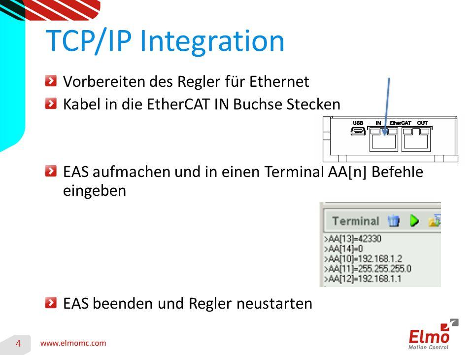 4 TCP/IP Integration Vorbereiten des Regler für Ethernet Kabel in die EtherCAT IN Buchse Stecken EAS aufmachen und in einen Terminal AA[n] Befehle ein