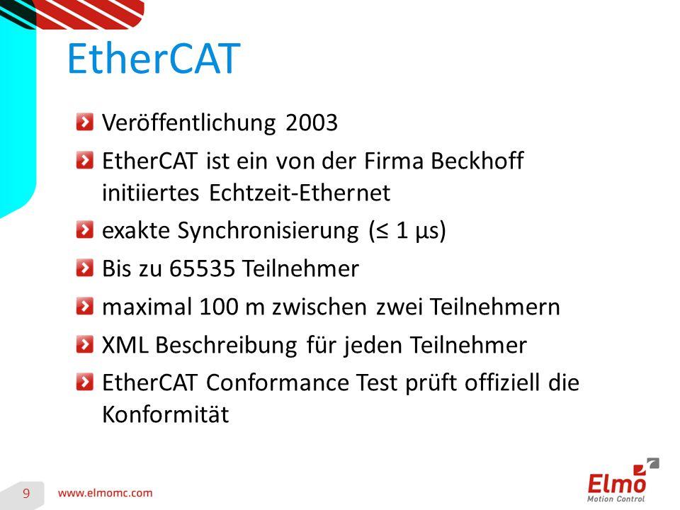 9 Veröffentlichung 2003 EtherCAT ist ein von der Firma Beckhoff initiiertes Echtzeit-Ethernet exakte Synchronisierung (≤ 1 µs) Bis zu 65535 Teilnehmer