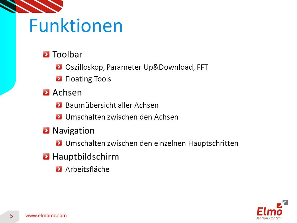 Toolbar Oszilloskop, Parameter Up&Download, FFT Floating Tools Achsen Baumübersicht aller Achsen Umschalten zwischen den Achsen Navigation Umschalten