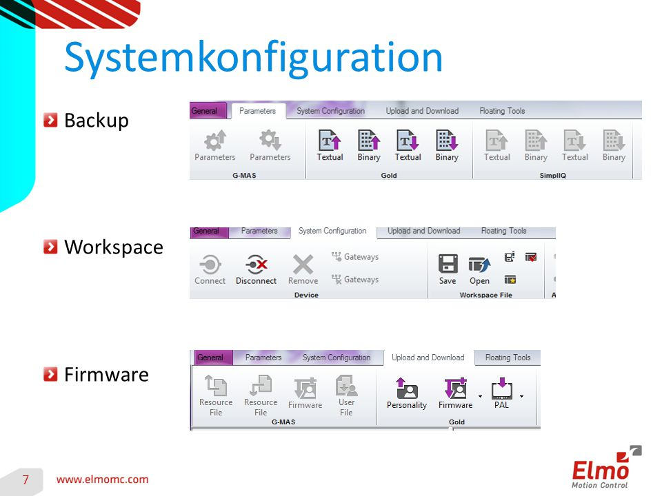 Systemkonfiguration 7 Backup Workspace Firmware