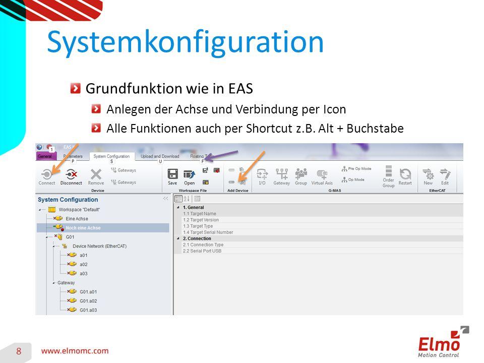 Systemkonfiguration 8 Grundfunktion wie in EAS Anlegen der Achse und Verbindung per Icon Alle Funktionen auch per Shortcut z.B.