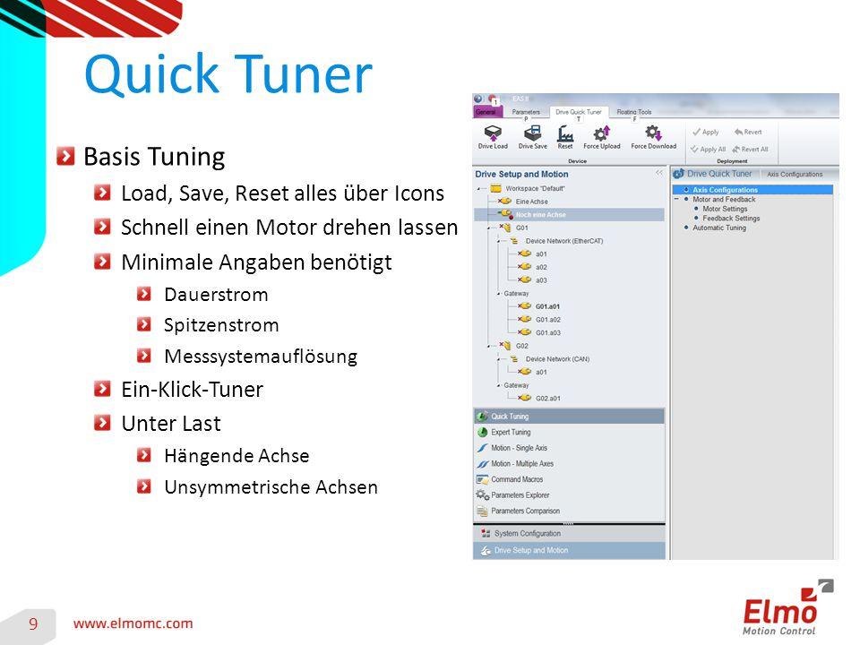 Quick Tuner 9 Basis Tuning Load, Save, Reset alles über Icons Schnell einen Motor drehen lassen Minimale Angaben benötigt Dauerstrom Spitzenstrom Messsystemauflösung Ein-Klick-Tuner Unter Last Hängende Achse Unsymmetrische Achsen