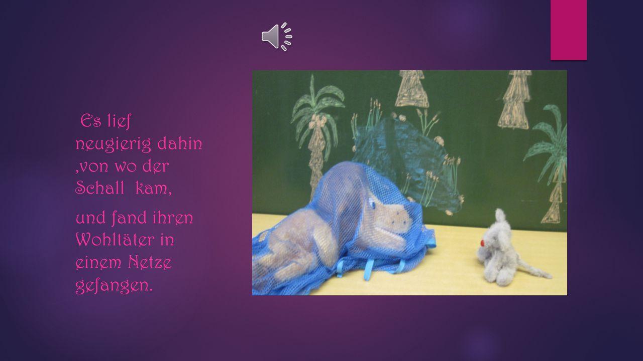 Kurze Zeit darauf hörte das Mäuschen in seinem Loche das fürchterliche Gebrüll eines Löwen. Hilfe!! ! Was ist das ?