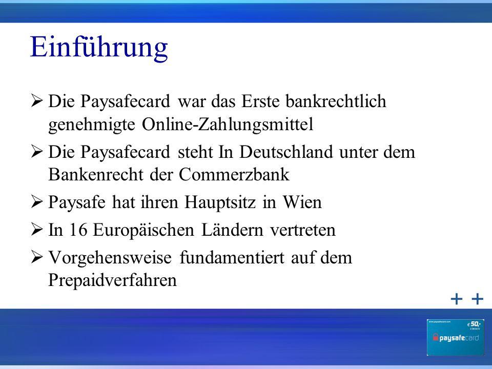 Einführung  Die Paysafecard war das Erste bankrechtlich genehmigte Online-Zahlungsmittel  Die Paysafecard steht In Deutschland unter dem Bankenrecht