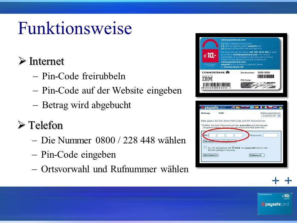 Funktionsweise  Internet  Pin-Code freirubbeln  Pin-Code auf der Website eingeben  Betrag wird abgebucht  Telefon  Die Nummer 0800 / 228 448 wäh