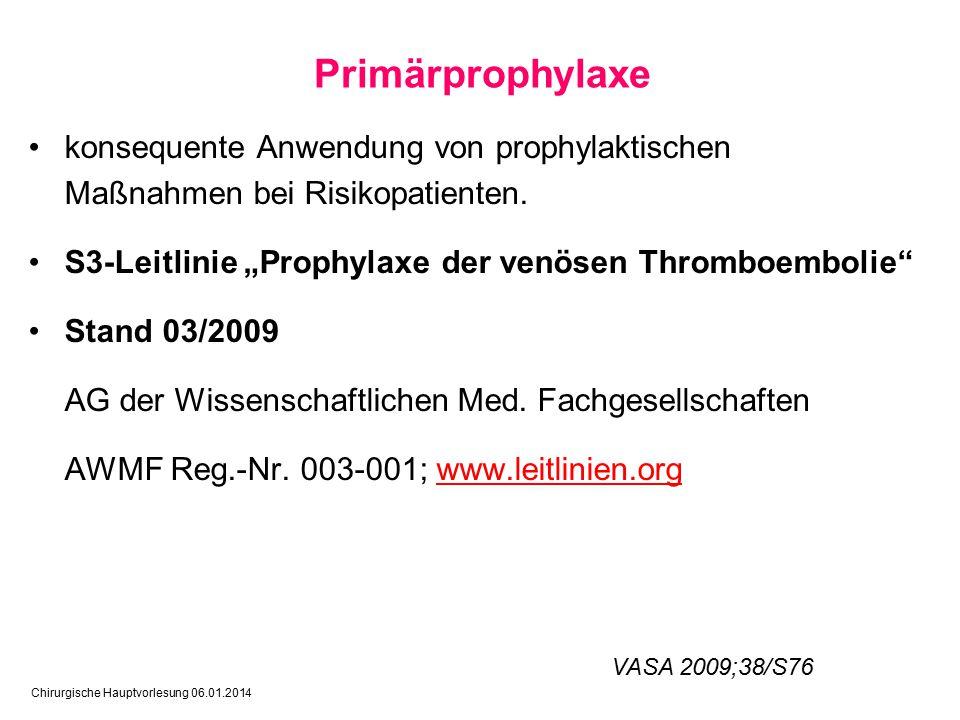 Chirurgische Hauptvorlesung 06.01.2014 konsequente Anwendung von prophylaktischen Maßnahmen bei Risikopatienten.