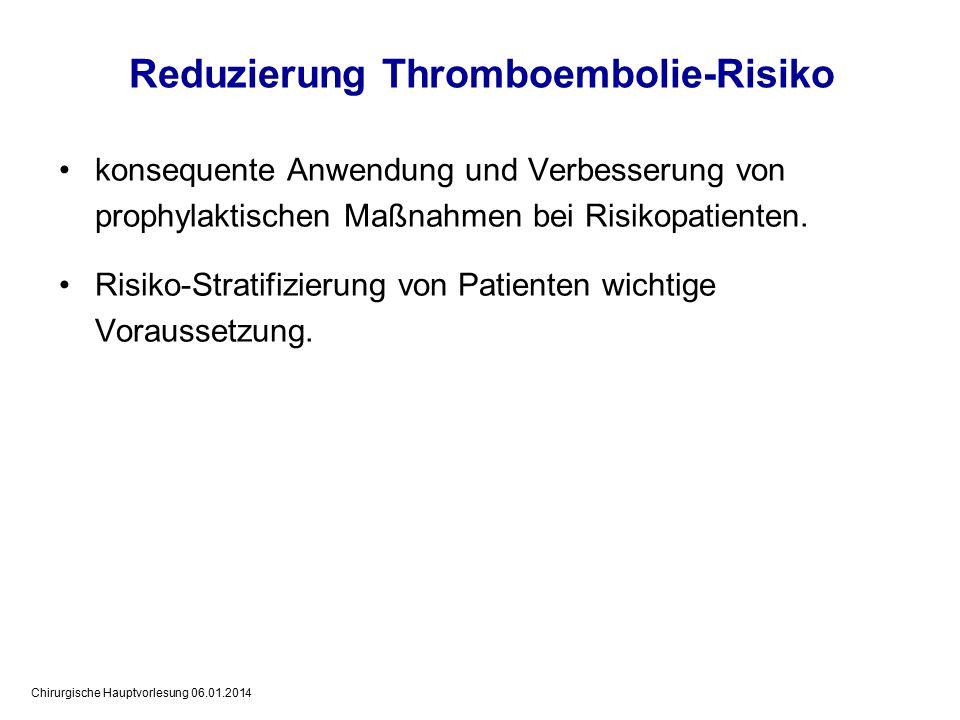 Chirurgische Hauptvorlesung 06.01.2014 konsequente Anwendung und Verbesserung von prophylaktischen Maßnahmen bei Risikopatienten.
