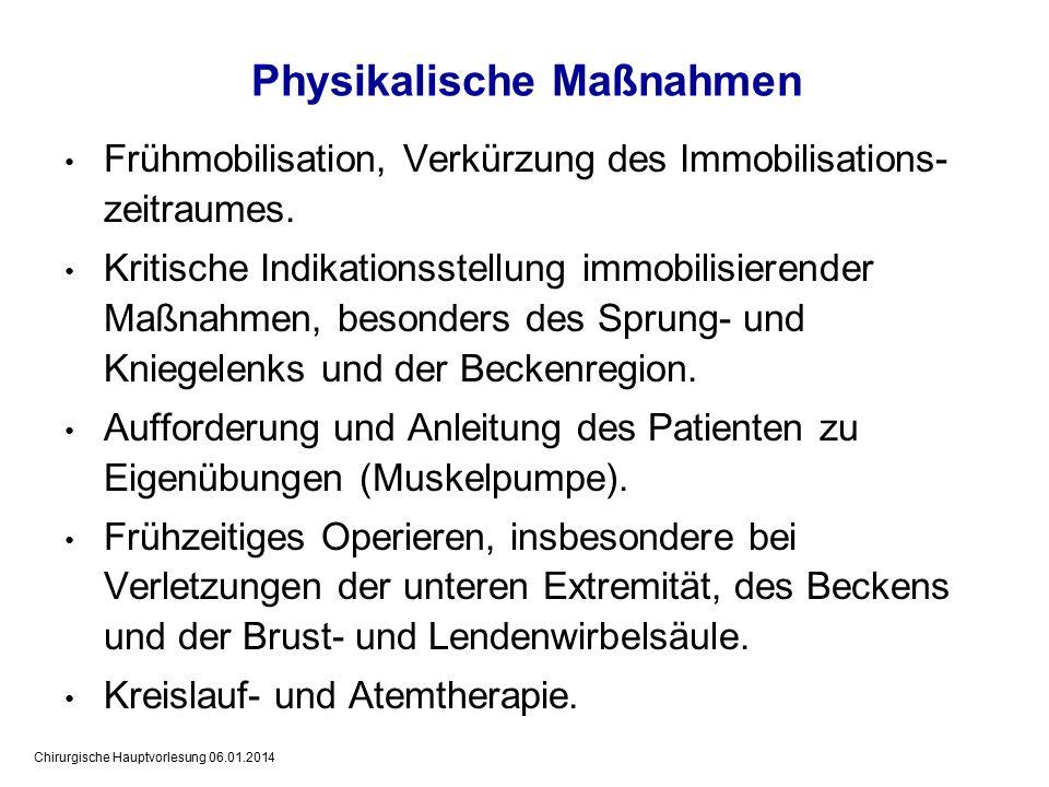 Chirurgische Hauptvorlesung 06.01.2014 Frühmobilisation, Verkürzung des Immobilisations- zeitraumes.