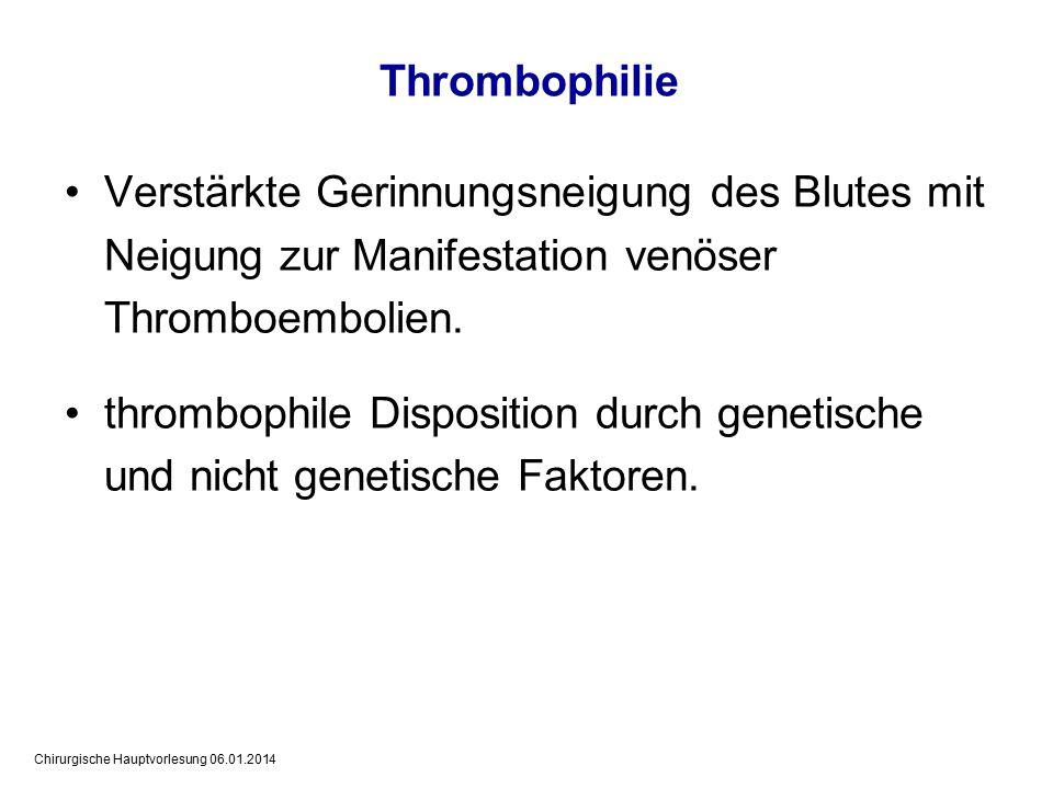 Chirurgische Hauptvorlesung 06.01.2014 Eingruppierung von Patienten nach Thromboserisiko Thrombo- embolische Komplikationen Niedriges Thrombo- embolierisiko Mittleres Thrombo- embolierisiko Hohes Thrombo- embolierisiko Distale tiefe Beinvenenthrombose < 10 %10 - 40 %40 - 80 % Proximale tiefe Beinvenenthrombose < 1 %1 - 10 %10 - 30 % Tödliche Lungenembolie < 0,1 %0,1 - 1 %> 1 %