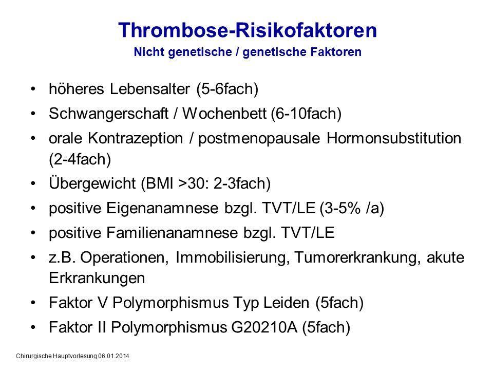 Chirurgische Hauptvorlesung 06.01.2014 Eingruppierung von Patienten nach Thromboserisiko niedriges Risiko: - kleinere oder mittlere operative Eingriffe mit geringer Traumatisierung - Verletzungen ohne oder mit geringem Weichteilschaden - kein zusätzliches bzw.