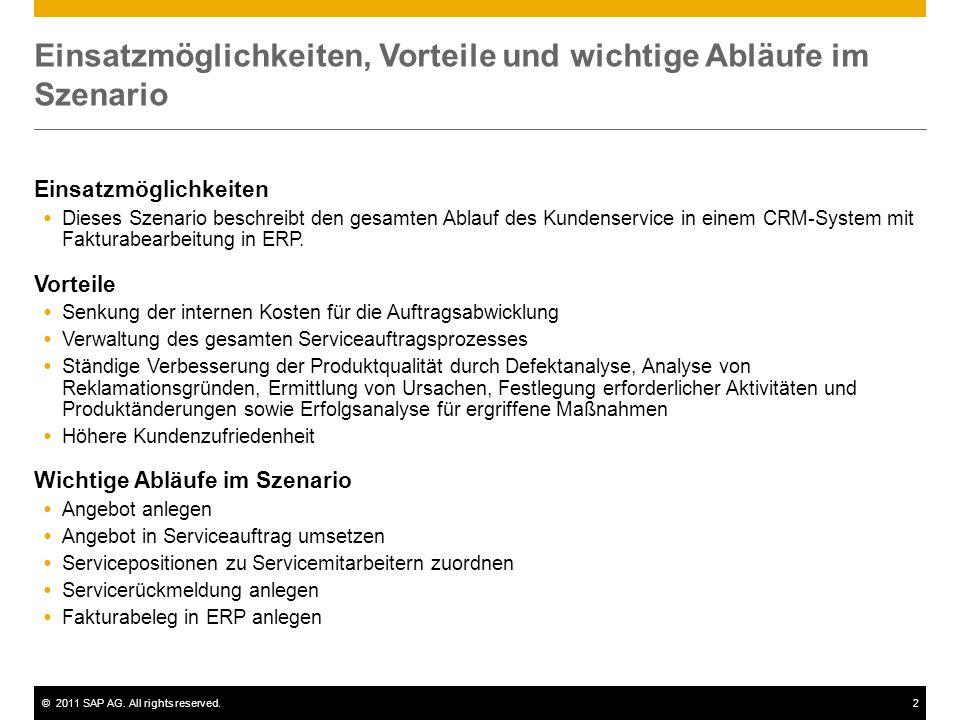 ©2011 SAP AG. All rights reserved.2 Einsatzmöglichkeiten, Vorteile und wichtige Abläufe im Szenario Einsatzmöglichkeiten  Dieses Szenario beschreibt