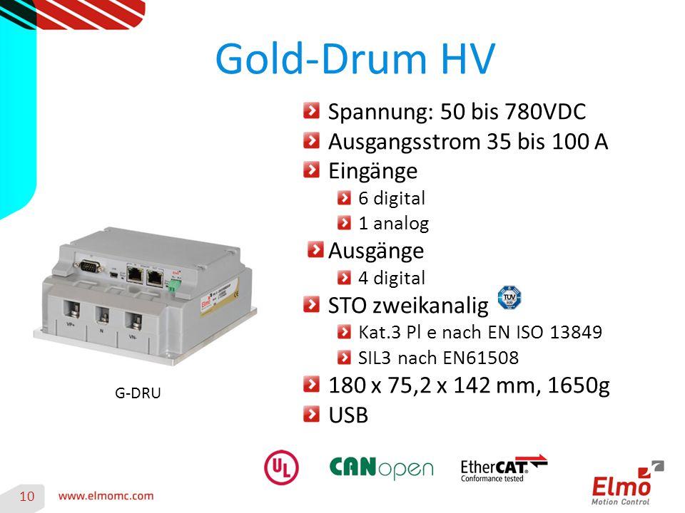 Gold-Drum HV 10 G-DRU Spannung: 50 bis 780VDC Ausgangsstrom 35 bis 100 A Eingänge 6 digital 1 analog Ausgänge 4 digital STO zweikanalig Kat.3 Pl e nac