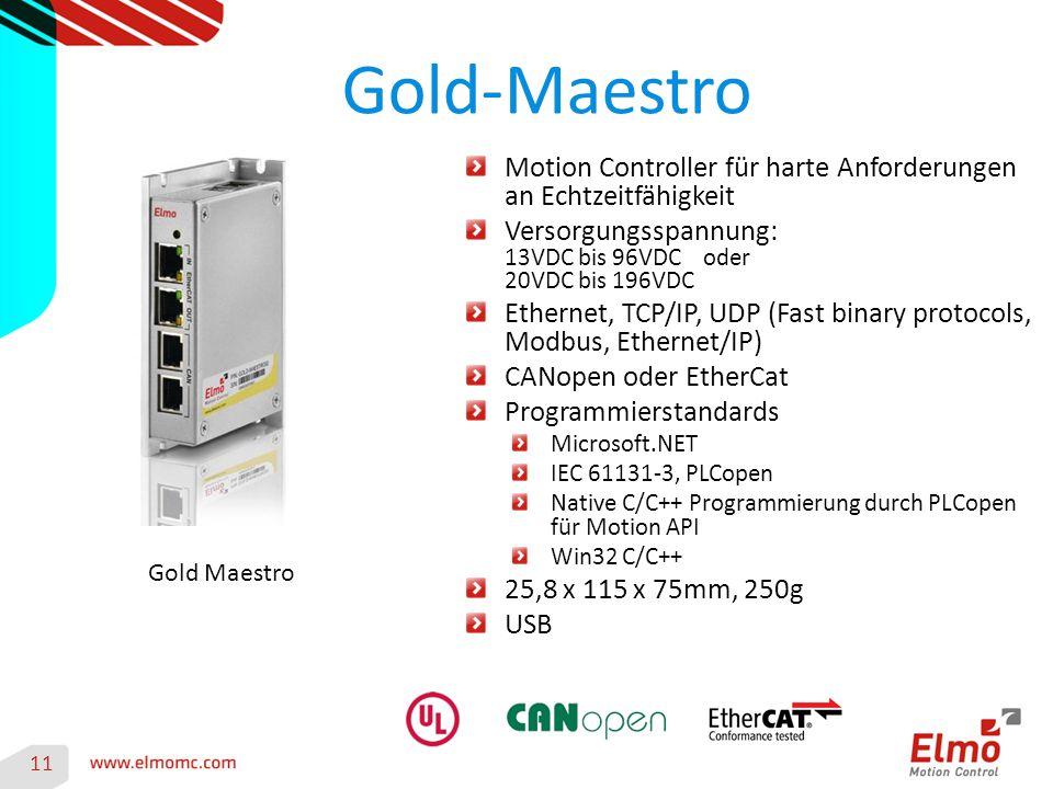 Gold-Maestro 11 Gold Maestro Motion Controller für harte Anforderungen an Echtzeitfähigkeit Versorgungsspannung: 13VDC bis 96VDC oder 20VDC bis 196VDC