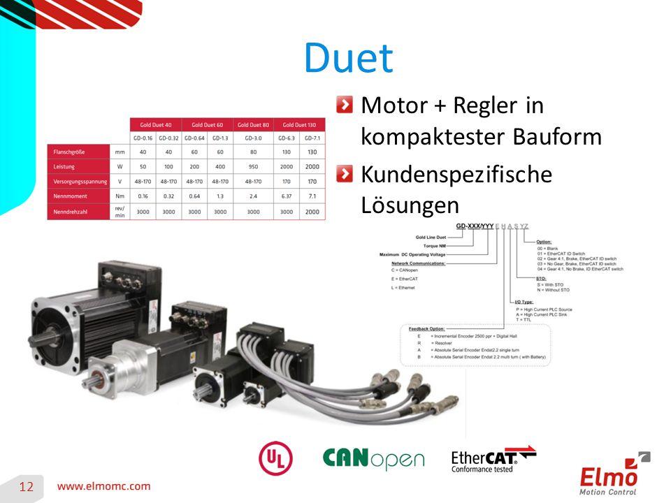Duet 12 Motor + Regler in kompaktester Bauform Kundenspezifische Lösungen