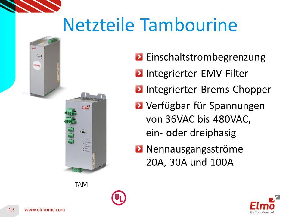 Netzteile Tambourine 13 Einschaltstrombegrenzung Integrierter EMV-Filter Integrierter Brems-Chopper Verfügbar für Spannungen von 36VAC bis 480VAC, ein