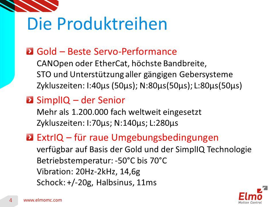 Gold – Beste Servo-Performance CANOpen oder EtherCat, höchste Bandbreite, STO und Unterstützung aller gängigen Gebersysteme Zykluszeiten: I:40µs (50µs