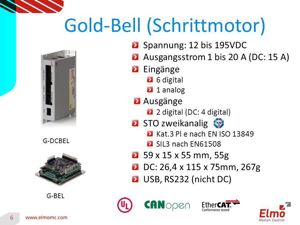 Gold-Bell (Schrittmotor) 6 G-DCBEL G-BEL Spannung: 12 bis 195VDC Ausgangsstrom 1 bis 20 A (DC: 15 A) Eingänge 6 digital 1 analog Ausgänge 2 digital (D