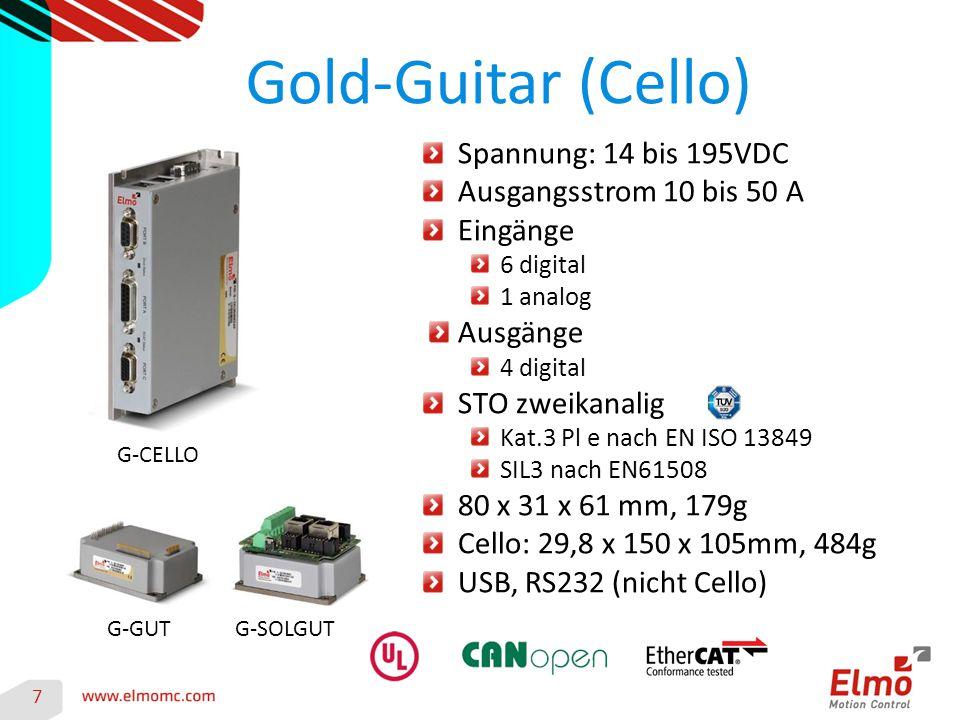 Gold-Guitar (Cello) 7 G-CELLO G-GUT Spannung: 14 bis 195VDC Ausgangsstrom 10 bis 50 A Eingänge 6 digital 1 analog Ausgänge 4 digital STO zweikanalig K