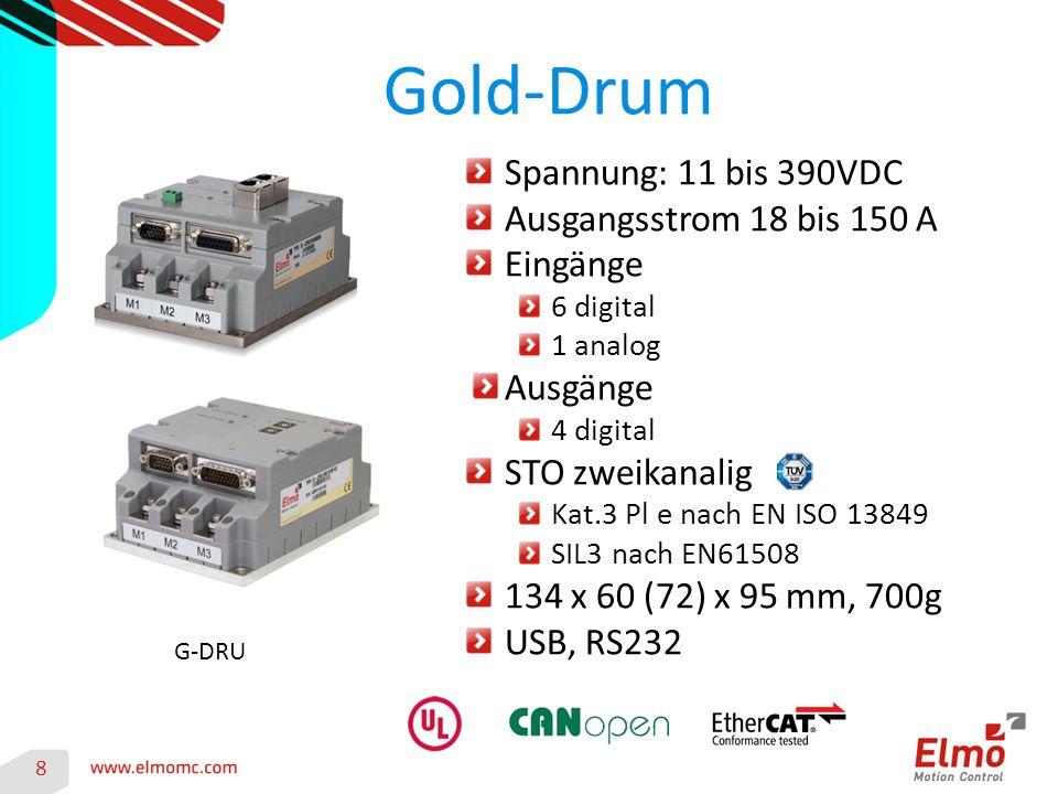 Gold-Trombone 9 G-TRO Spannung: 50 bis 780VDC Ausgangsstrom 6 bis 22 A Eingänge 6 digital 1 analog Ausgänge 4 digital STO zweikanalig Kat.3 Pl e nach EN ISO 13849 SIL3 nach EN61508 111 x 34 x 76 mm, 300g DC: 47 x 140 x 105 mm, 300g USB, RS232 (nicht Solo, DC) G-SOLTRO G-DCTRO