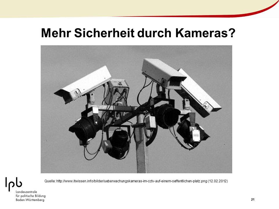 21 Mehr Sicherheit durch Kameras? Quelle: http://www.itwissen.info/bilder/ueberwachungskameras-im-cctv-auf-einem-oeffentlichen-platz.png (12.02.2012)