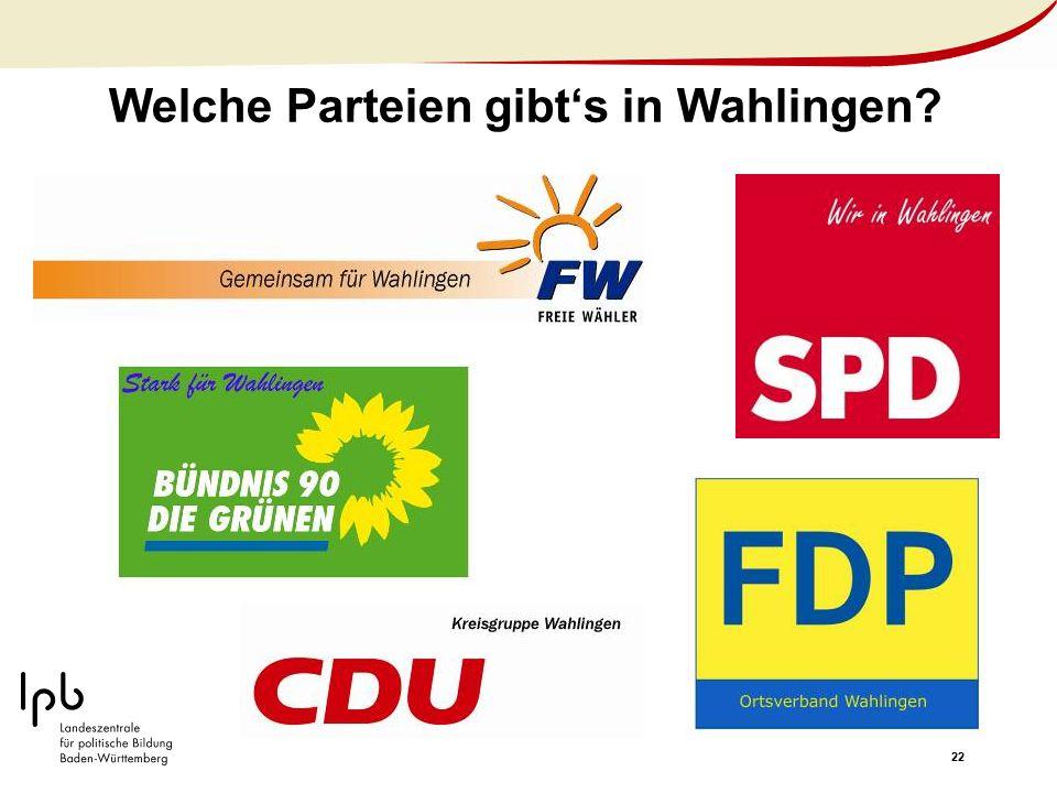 22 Welche Parteien gibt's in Wahlingen?