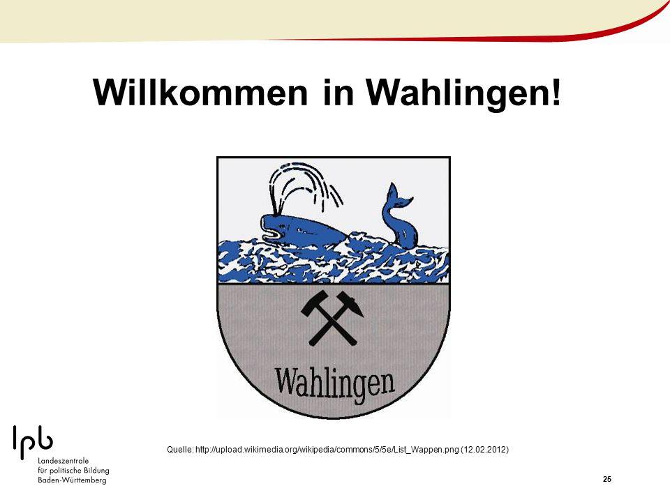 25 Willkommen in Wahlingen! Quelle: http://upload.wikimedia.org/wikipedia/commons/5/5e/List_Wappen.png (12.02.2012)