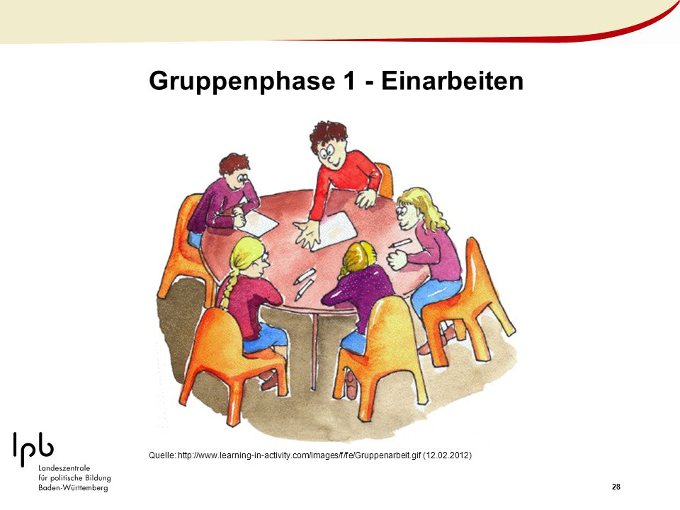 28 Gruppenphase 1 - Einarbeiten Quelle: http://www.learning-in-activity.com/images/f/fe/Gruppenarbeit.gif (12.02.2012)