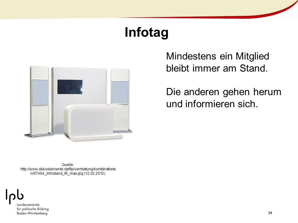34 Infotag Quelle: http://www.dekoelemente.de/ftp/vermietung/kombinatione n/07494_Infostand_IR_max.jpg (12.02.2012) Mindestens ein Mitglied bleibt imm