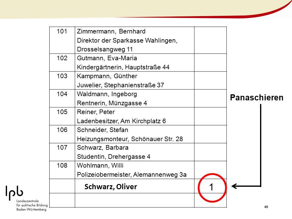 49 101 Zimmermann, Bernhard Direktor der Sparkasse Wahlingen, Drosselsangweg 11 102 Gutmann, Eva-Maria Kindergärtnerin, Hauptstraße 44 103 Kampmann, G