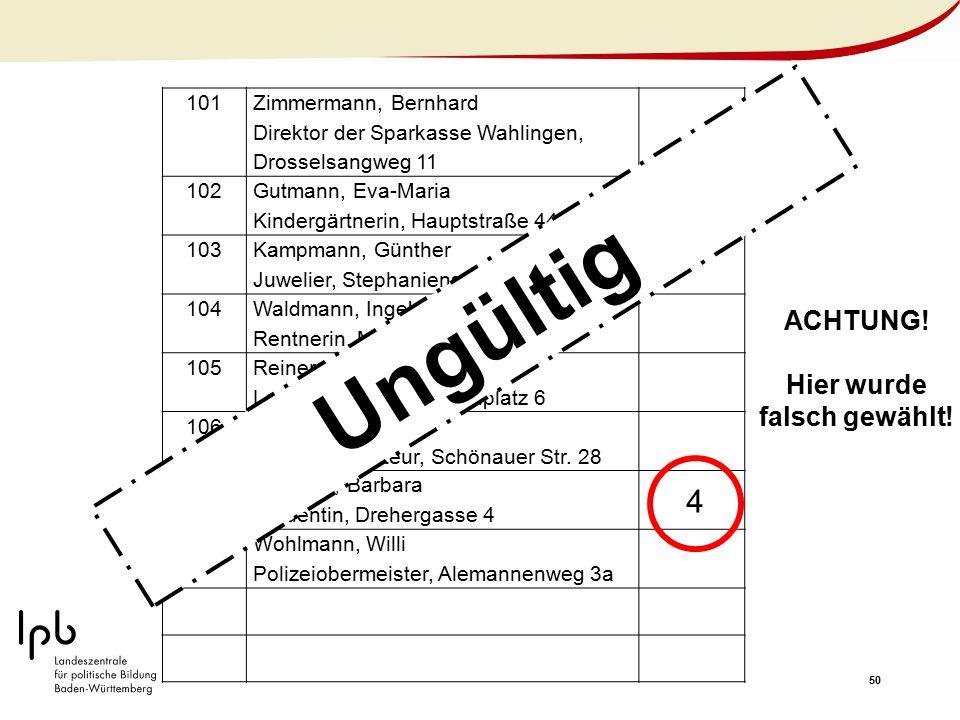 50 101 Zimmermann, Bernhard Direktor der Sparkasse Wahlingen, Drosselsangweg 11 102 Gutmann, Eva-Maria Kindergärtnerin, Hauptstraße 44 103 Kampmann, G