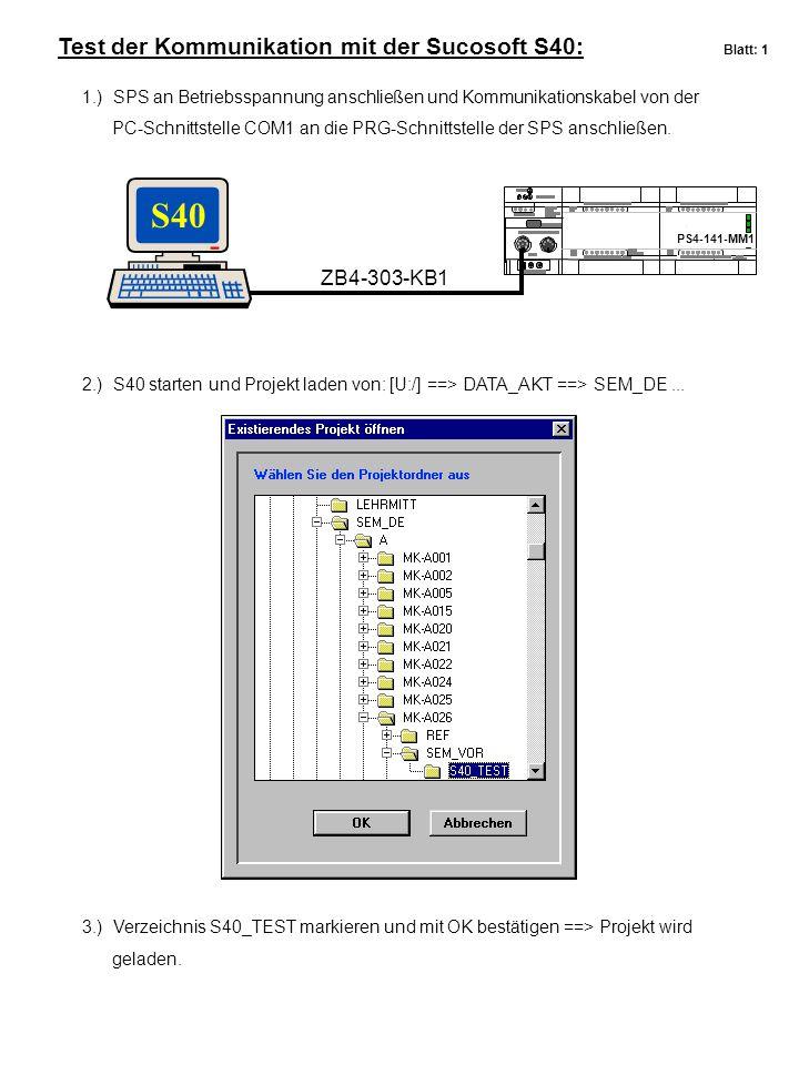 Test der Kommunikation mit der Sucosoft S40: Blatt: 1 S40 PS4-141-MM1 ZB4-303-KB1 1.) SPS an Betriebsspannung anschließen und Kommunikationskabel von der PC-Schnittstelle COM1 an die PRG-Schnittstelle der SPS anschließen.