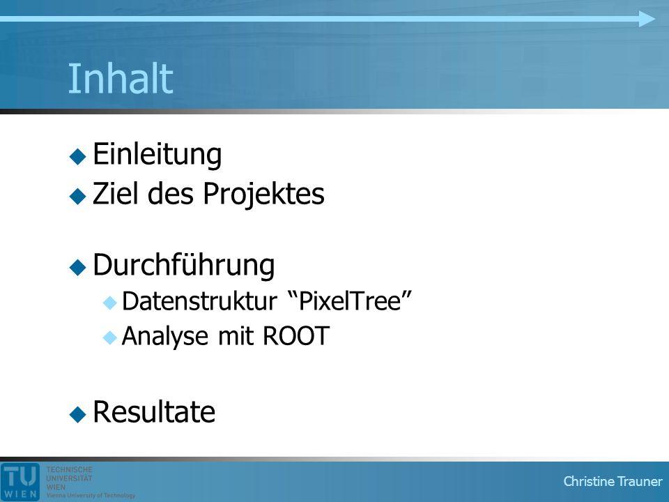 Christine Trauner Inhalt  Einleitung  Ziel des Projektes  Durchführung  Datenstruktur PixelTree  Analyse mit ROOT  Resultate