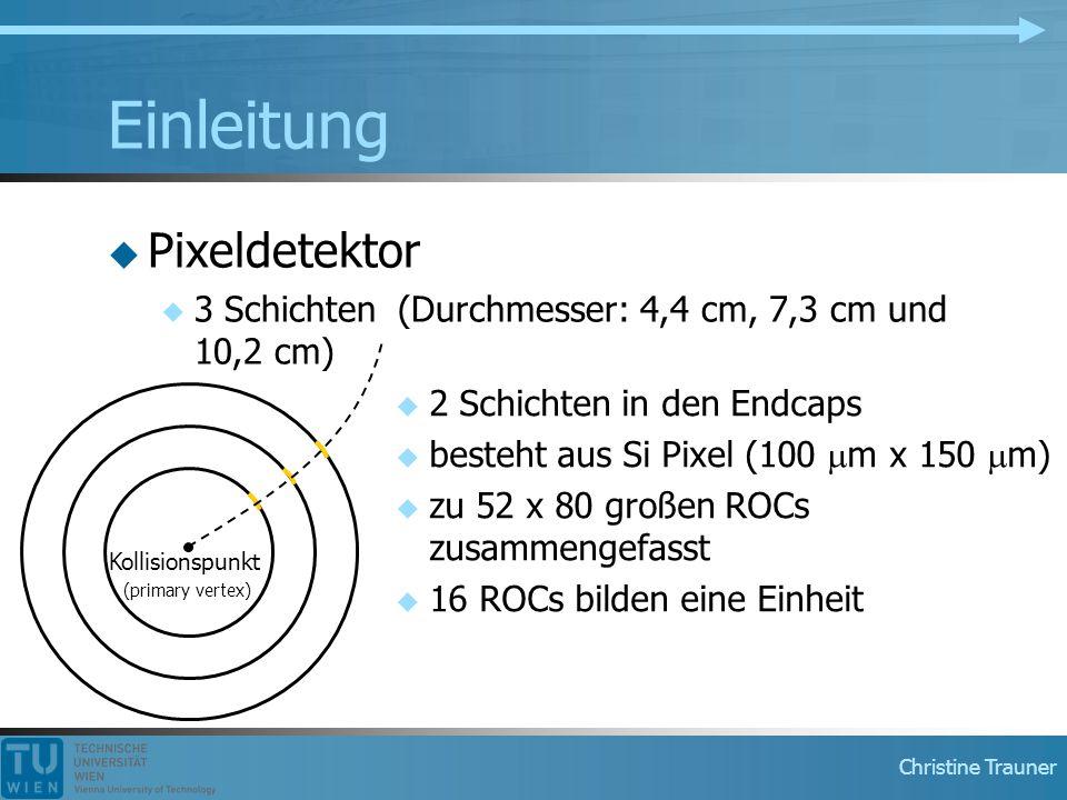 Christine Trauner Einleitung  Pixeldetektor  3 Schichten (Durchmesser: 4,4 cm, 7,3 cm und 10,2 cm) Kollisionspunkt (primary vertex)  2 Schichten in den Endcaps  besteht aus Si Pixel (100  m x 150  m)  zu 52 x 80 großen ROCs zusammengefasst  16 ROCs bilden eine Einheit