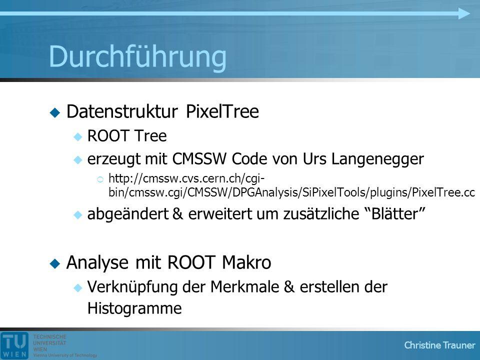 Christine Trauner Durchführung  Datenstruktur PixelTree  ROOT Tree  erzeugt mit CMSSW Code von Urs Langenegger  http://cmssw.cvs.cern.ch/cgi- bin/cmssw.cgi/CMSSW/DPGAnalysis/SiPixelTools/plugins/PixelTree.cc  abgeändert & erweitert um zusätzliche Blätter  Analyse mit ROOT Makro  Verknüpfung der Merkmale & erstellen der Histogramme