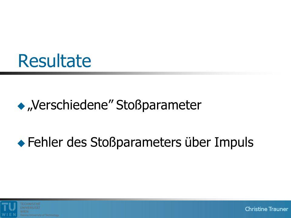 """Christine Trauner Resultate  """"Verschiedene Stoßparameter  Fehler des Stoßparameters über Impuls"""