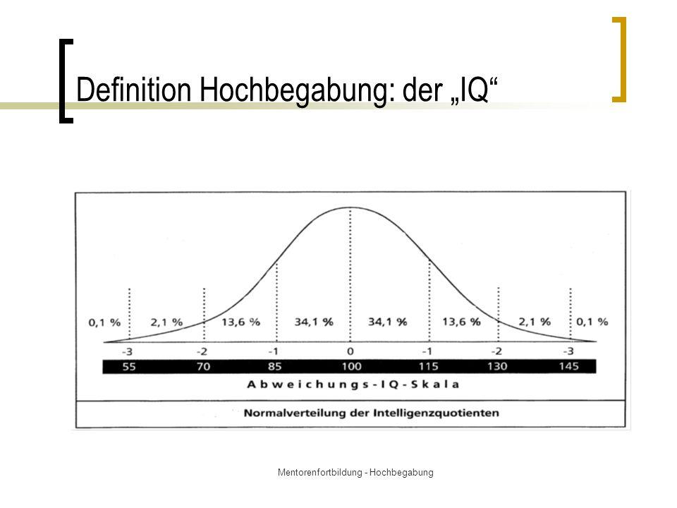 """Mentorenfortbildung - Hochbegabung Definition Hochbegabung: der """"IQ"""""""