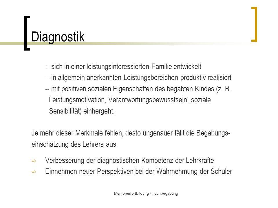 Mentorenfortbildung - Hochbegabung Diagnostik -- sich in einer leistungsinteressierten Familie entwickelt -- in allgemein anerkannten Leistungsbereich