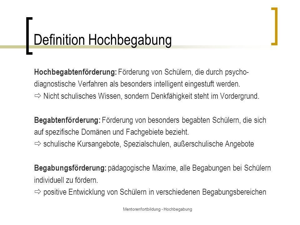 Mentorenfortbildung - Hochbegabung Klaus Urbans Definition v.