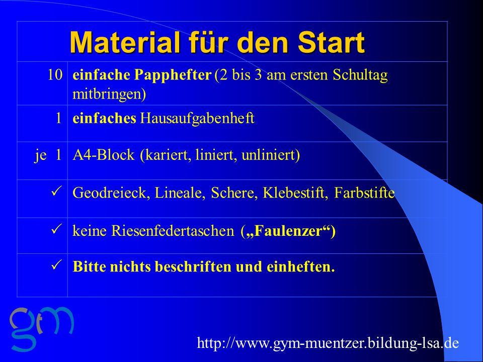 """http://www.gym-muentzer.bildung-lsa.de Material für den Start 10einfache Papphefter (2 bis 3 am ersten Schultag mitbringen) 1einfaches Hausaufgabenheft je 1A4-Block (kariert, liniert, unliniert)  Geodreieck, Lineale, Schere, Klebestift, Farbstifte  keine Riesenfedertaschen (""""Faulenzer )  Bitte nichts beschriften und einheften."""