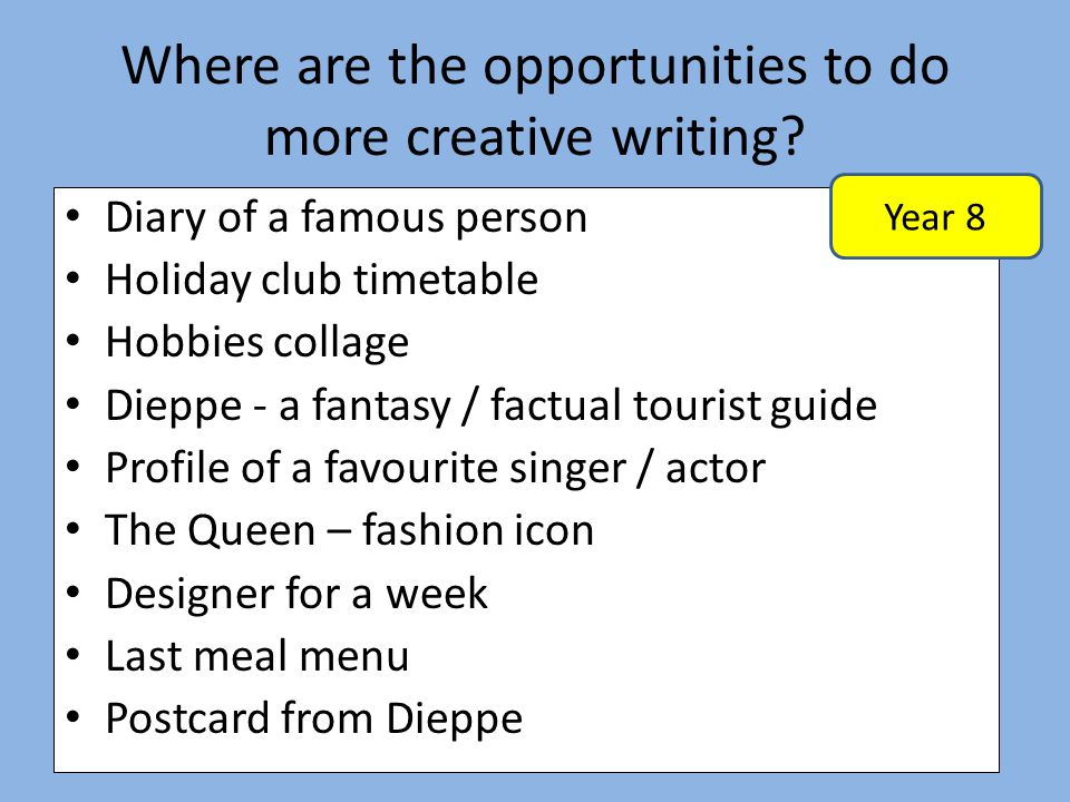 Where are the opportunities to do more creative writing? Diary of a famous person Holiday club timetable Hobbies collage Dieppe - a fantasy / factual